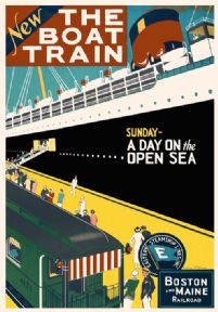 Vintage Travel Poster Boston and Maine Shipping